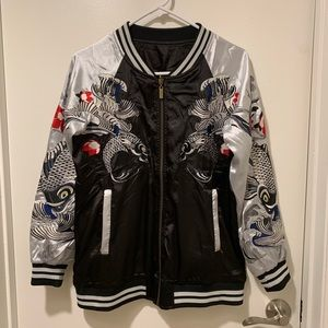 Other - Reversible Koi Fish Souvenir Jacket S Black/Sliver